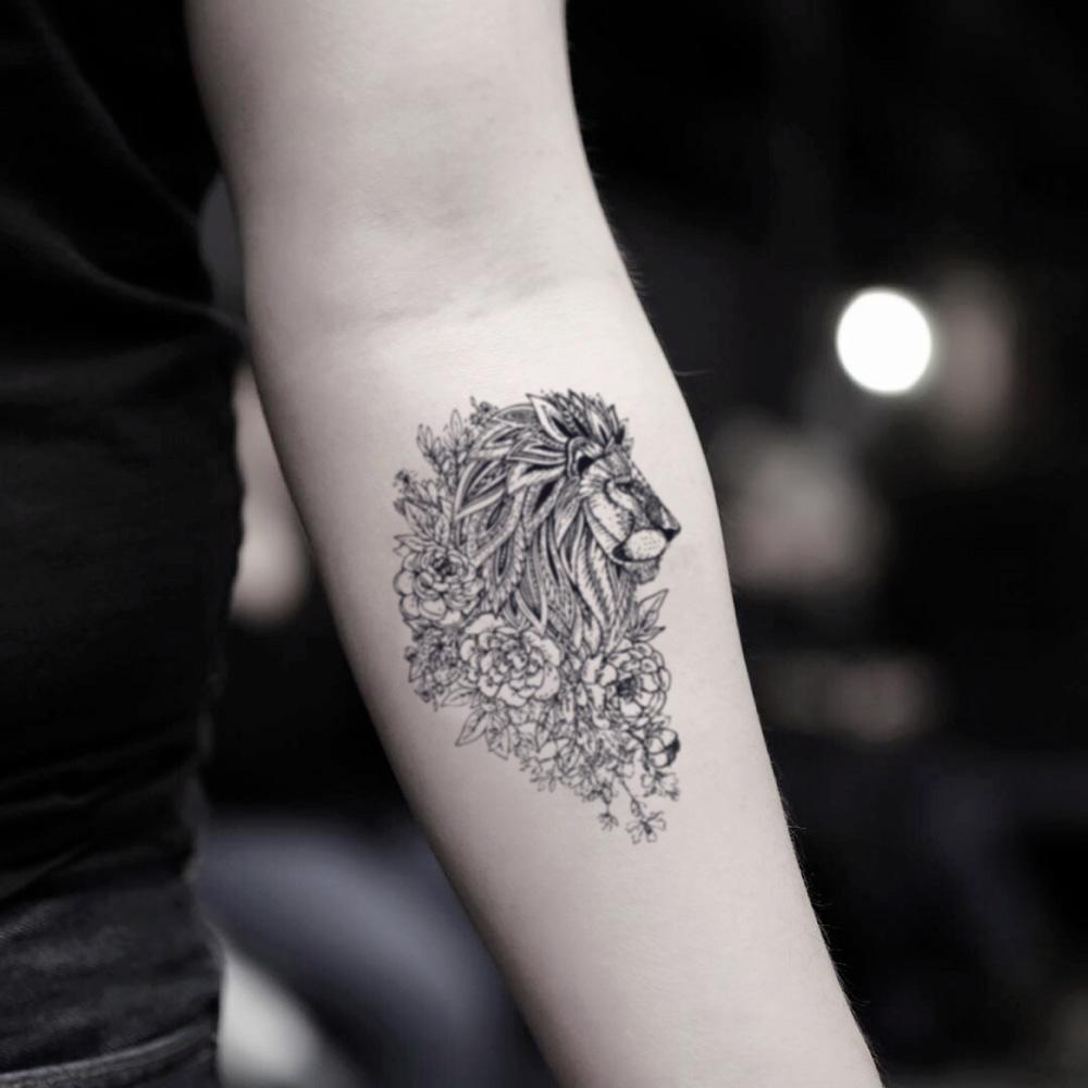 fake small lion flower animal temporary tattoo sticker design idea on inner arm
