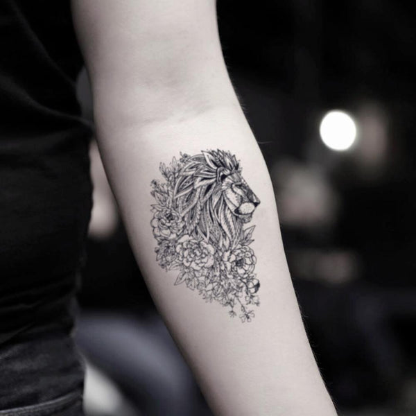 Lion Flower Temporary Tattoo Sticker Ohmytat They aren't called the king of the jungle for nothing. ohmytat