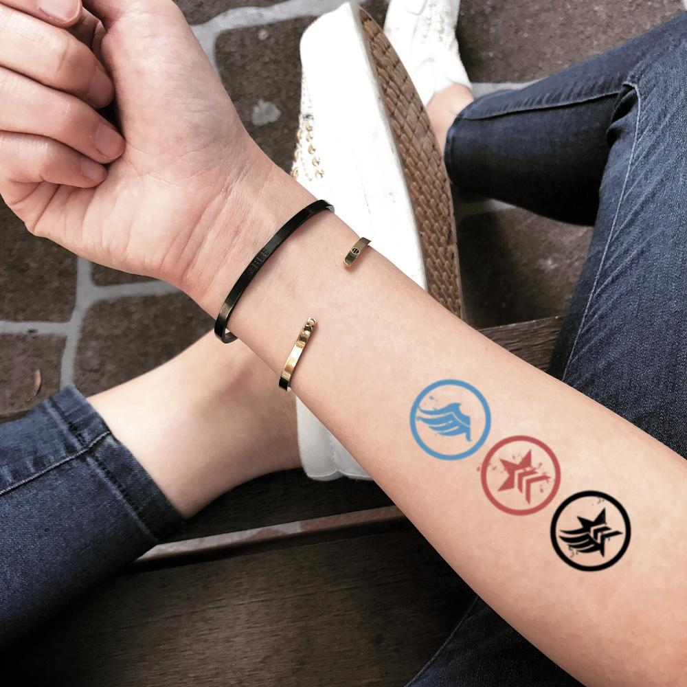 fake small mass effect renegade symbols color temporary tattoo sticker design idea on forearm