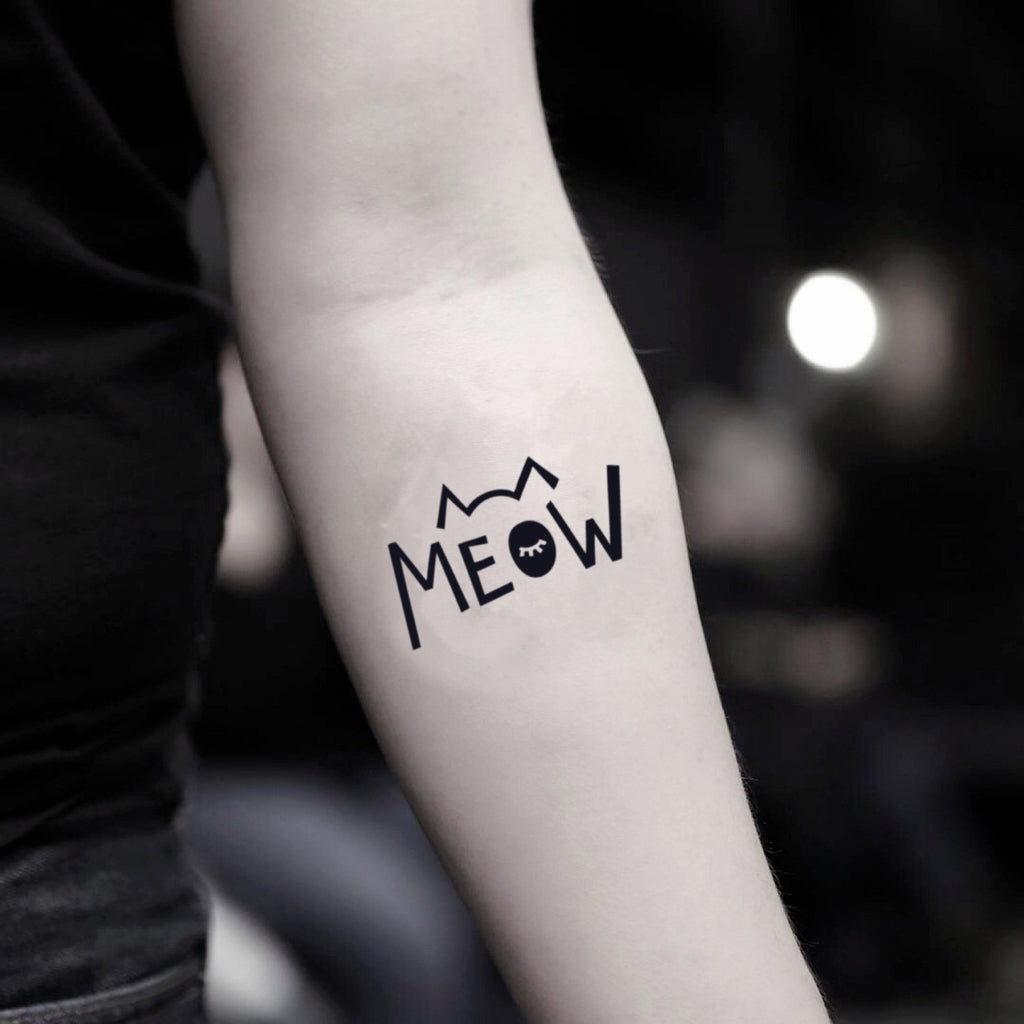 fake small meow lettering animal temporary tattoo sticker design idea on inner arm