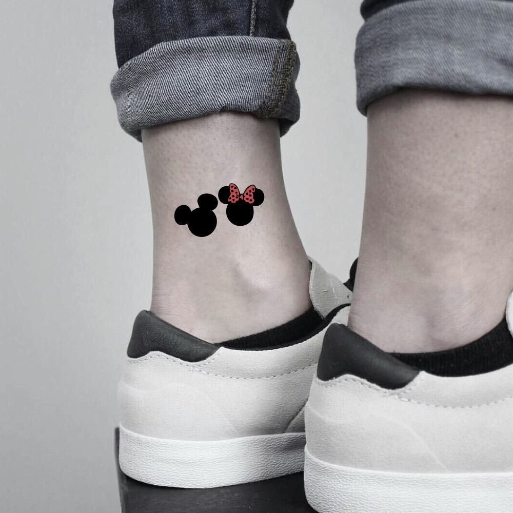 fake small hidden mickey minnie mouse cartoon temporary tattoo sticker design idea on ankle