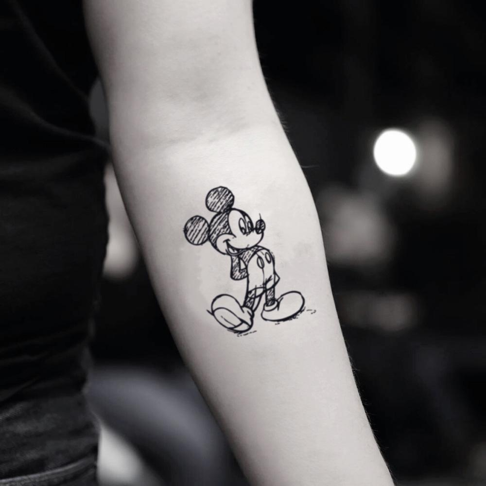fake small mickey mouse draft disney character cartoon temporary tattoo sticker design idea on inner arm