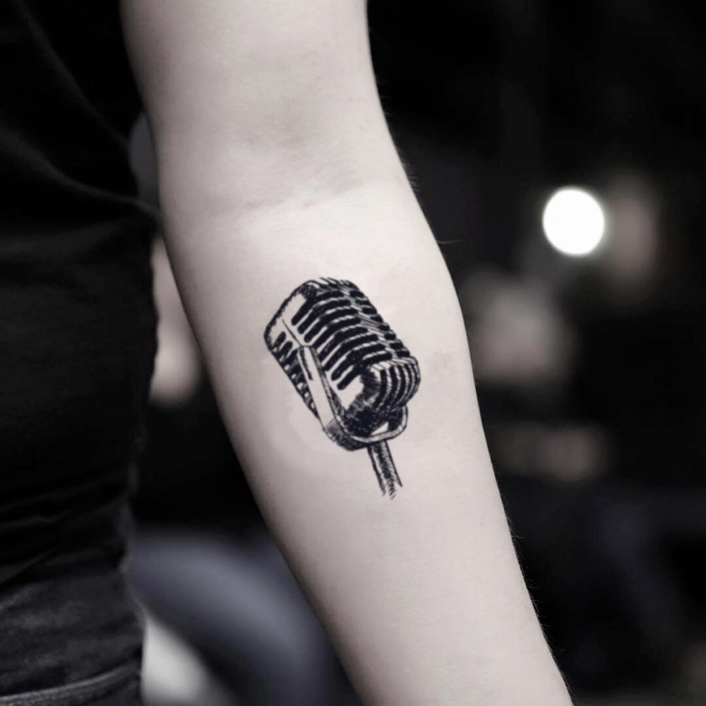 fake small microphone music temporary tattoo sticker design idea on inner arm