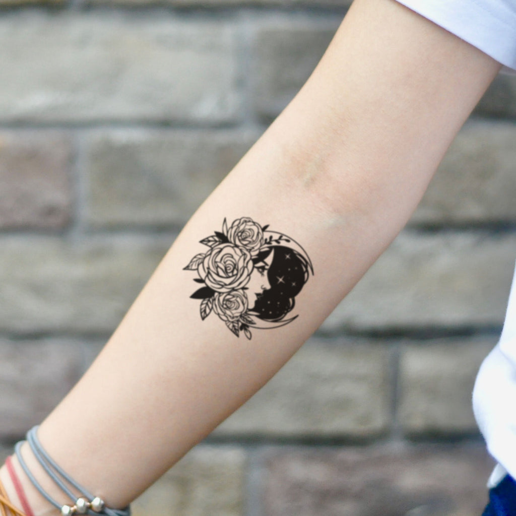 fake small moon, stars and rose illustrative temporary tattoo sticker design idea on inner arm