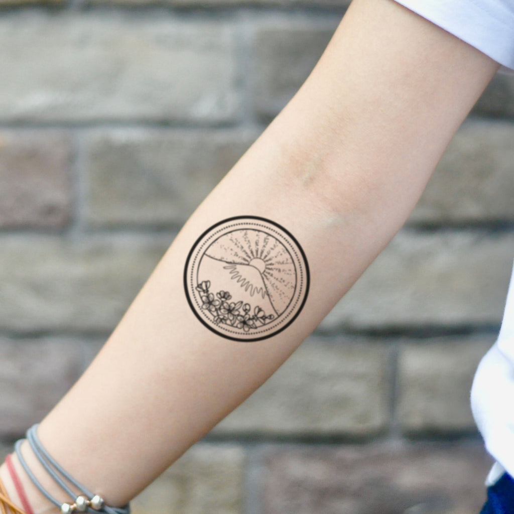 fake small tokyo mount fuji mt funky geology nature temporary tattoo sticker design idea on inner arm
