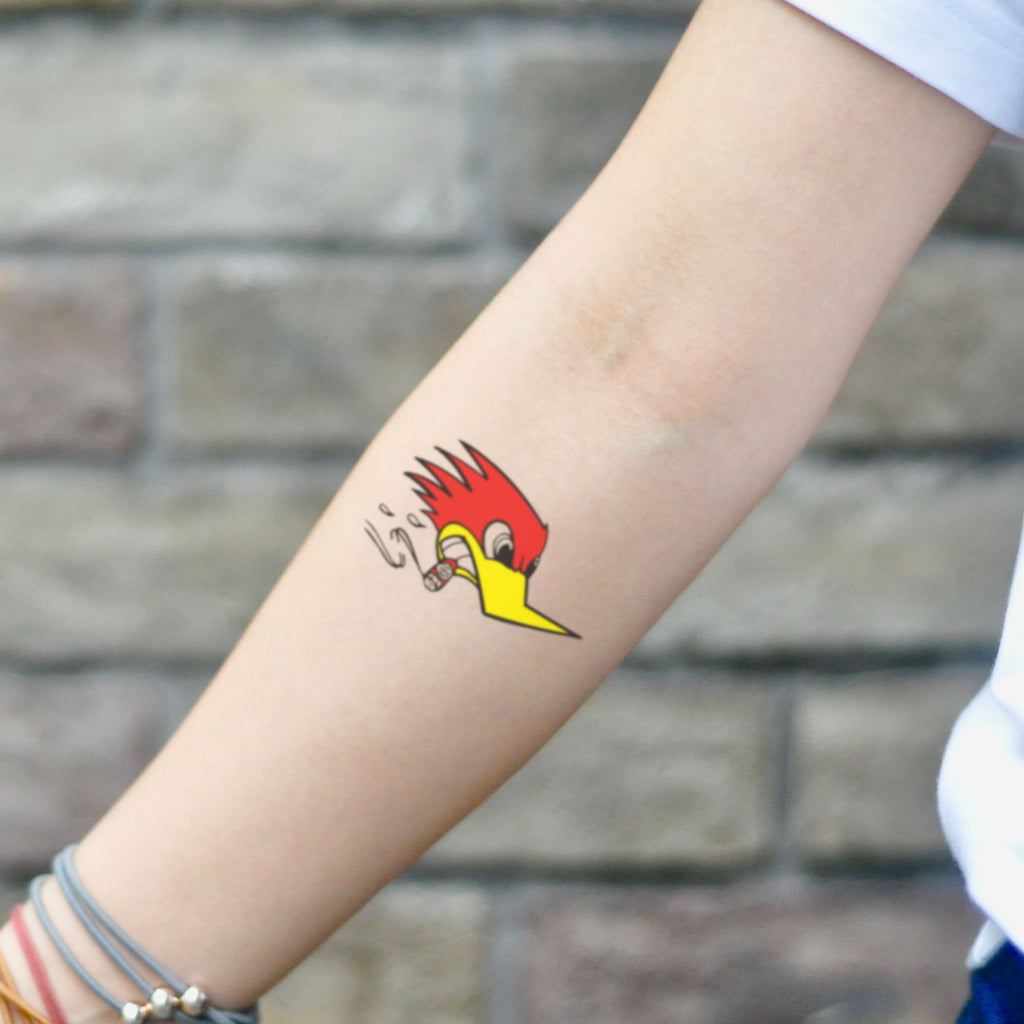 fake small mr horsepower woody woodpecker peckerwood color temporary tattoo sticker design idea on inner arm