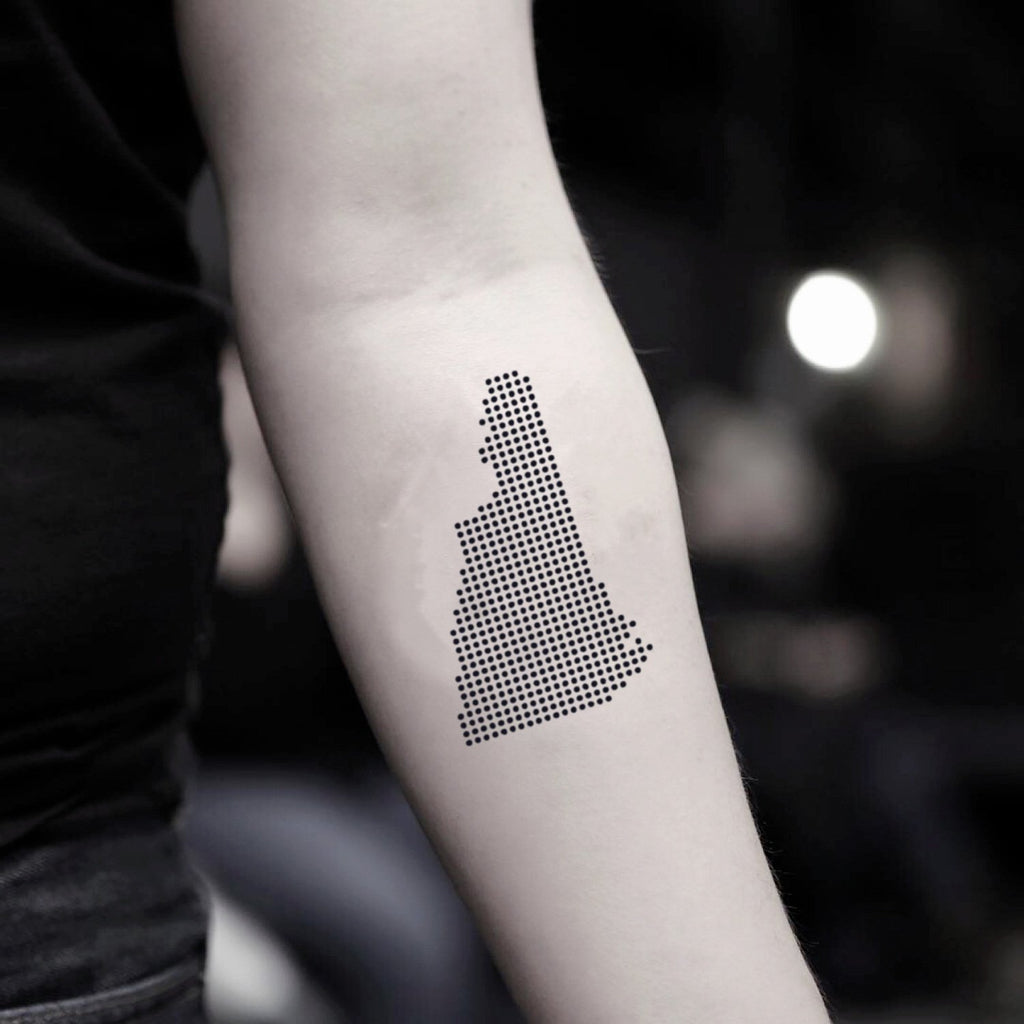 fake small new hampshire minimalist temporary tattoo sticker design idea on inner arm