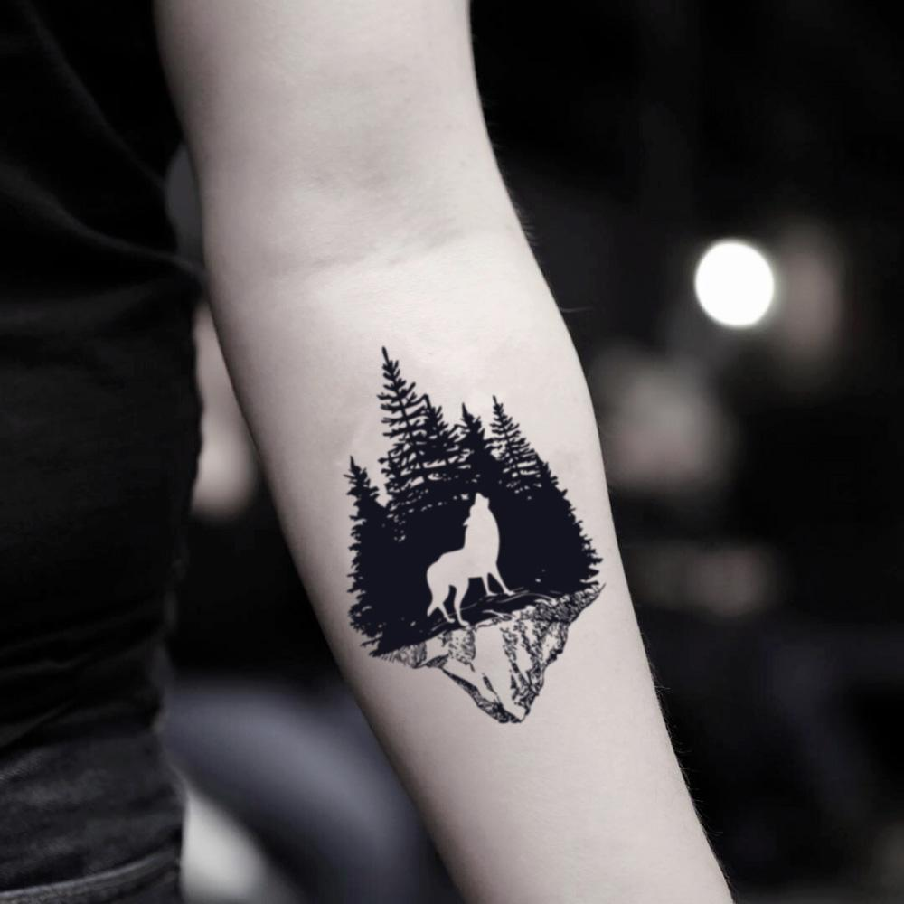 fake small dark night tree line woods bosque wilderness wildlife forest wolf mountain animal temporary tattoo sticker design idea on inner arm