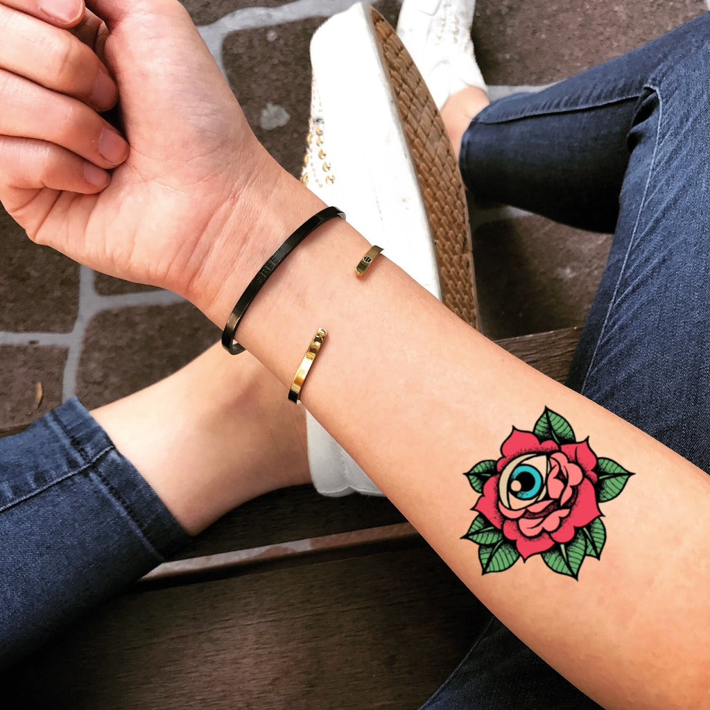 fake small old school english japanese pink rose of jericho vintage color temporary tattoo sticker design idea on forearm