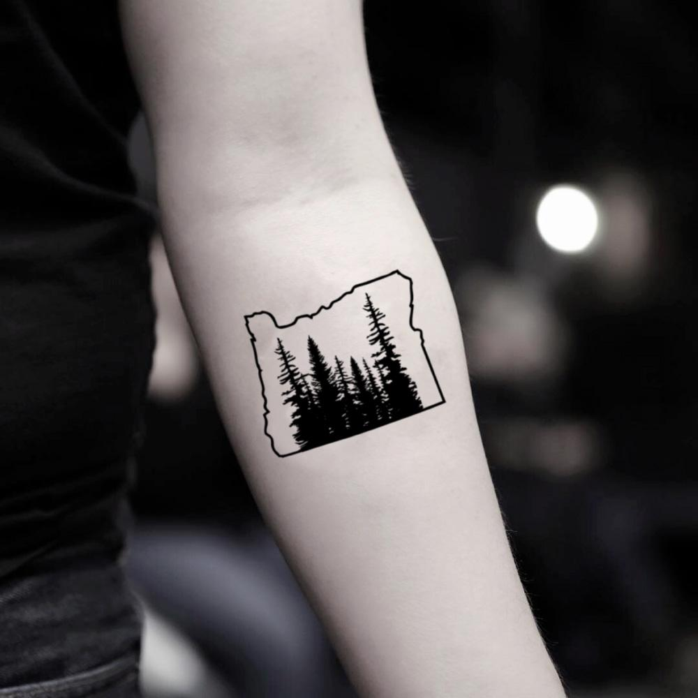 fake small oregon mount mt hood nature temporary tattoo sticker design idea on inner arm