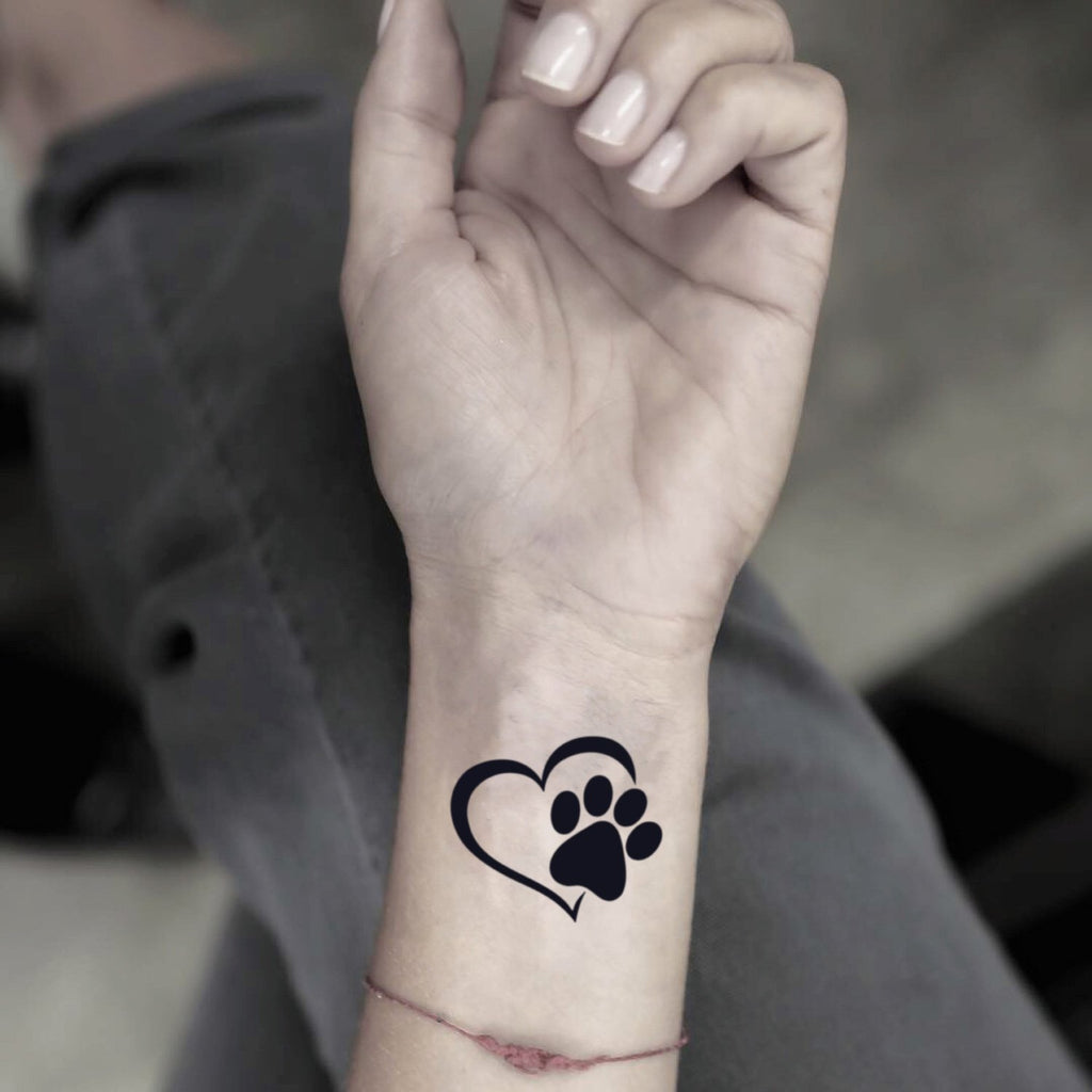 fake small paw print heart animal temporary tattoo sticker design idea on wrist