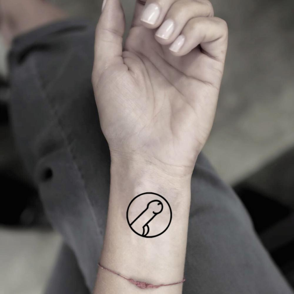fake small penis dick logo embarrassing ironic ignorant minimalist temporary tattoo sticker design idea on wrist