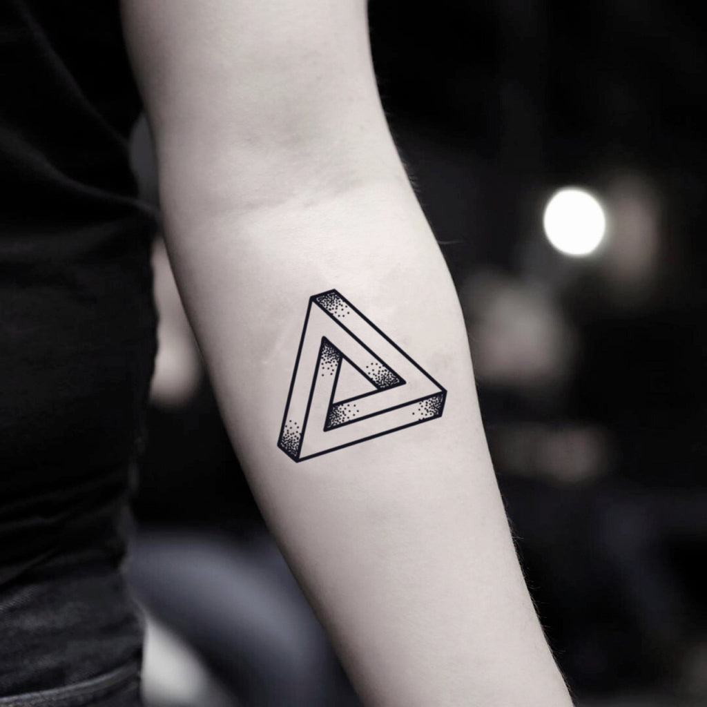 fake small penrose impossible triangle mc escher geometric temporary tattoo sticker design idea on inner arm