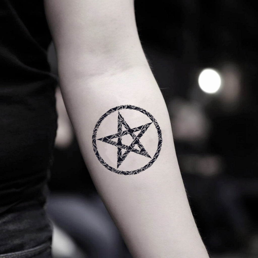 fake small pentacle geometric temporary tattoo sticker design idea on inner arm