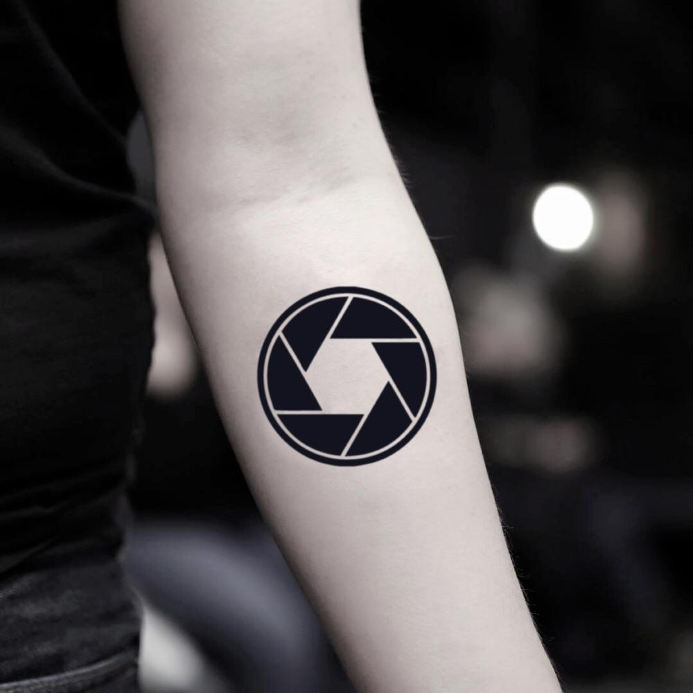 fake small photography dslr geometric temporary tattoo sticker design idea on inner arm