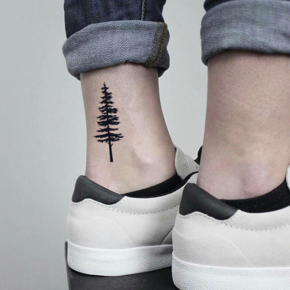 fake small pine tree cedar evergreen cypress douglas fir nature temporary tattoo sticker design idea on ankle
