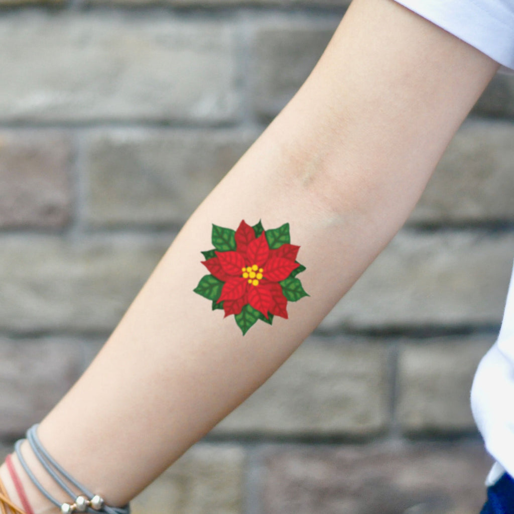 fake small poinsettia scarlet begonias red flower temporary tattoo sticker design idea on inner arm