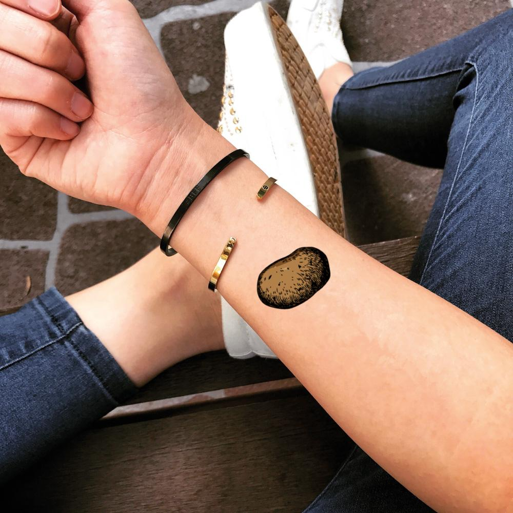 fake small potato food color temporary tattoo sticker design idea on wrist
