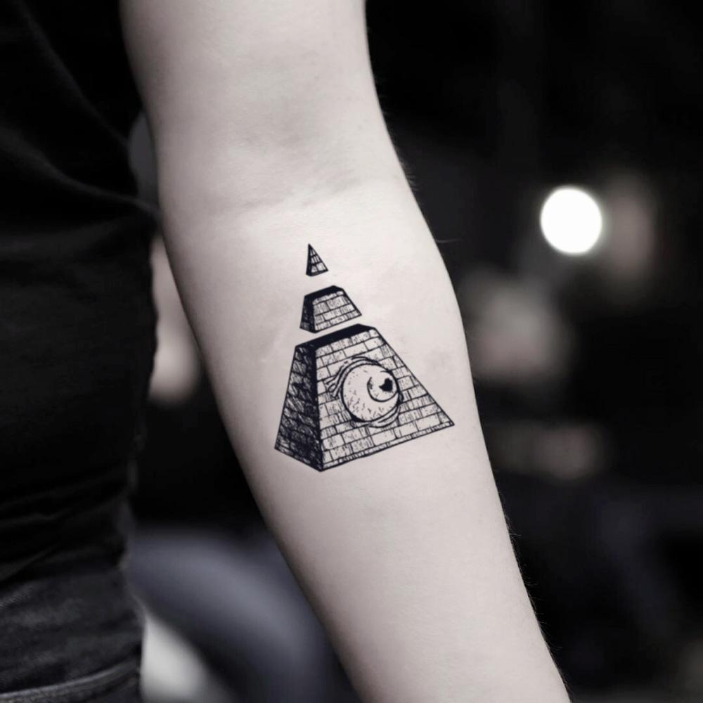 fake small pyramid illustrative temporary tattoo sticker design idea on inner arm