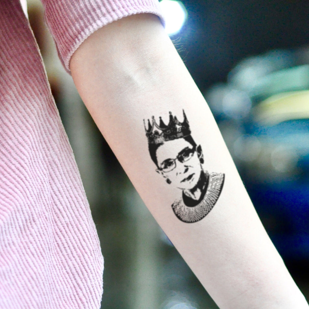 fake small rbg ruth bader ginsburg portrait temporary tattoo sticker design idea on inner arm