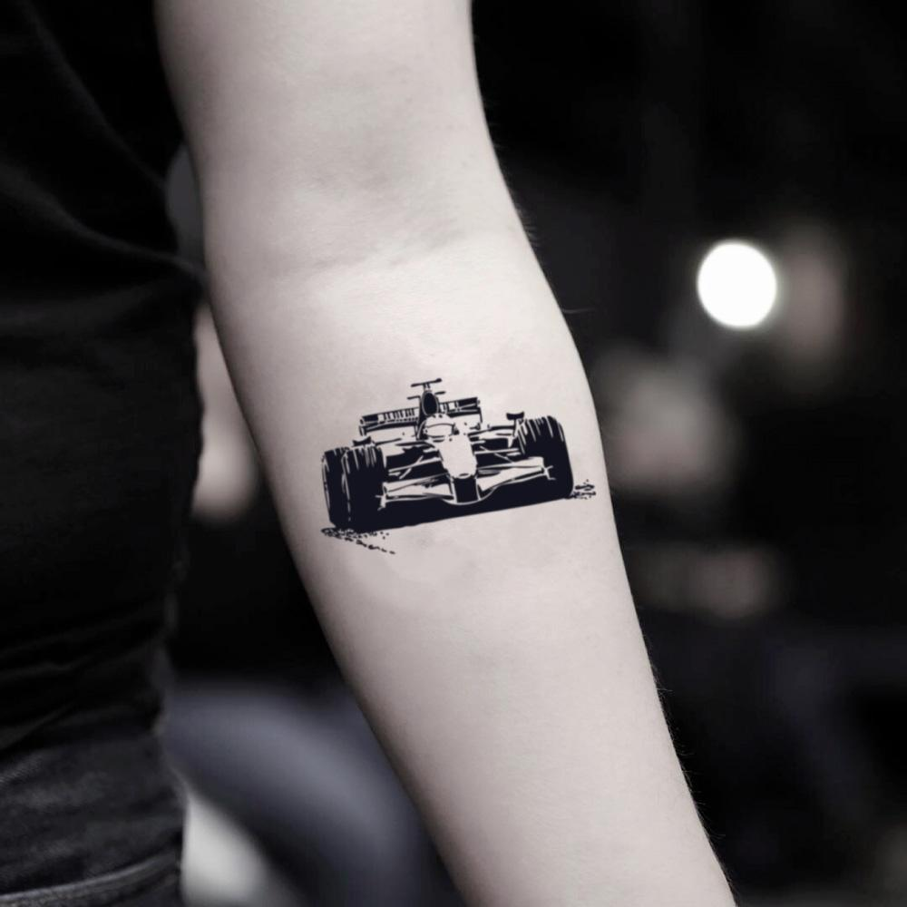 fake small race car f1 formula 1 one illustrative temporary tattoo sticker design idea on inner arm