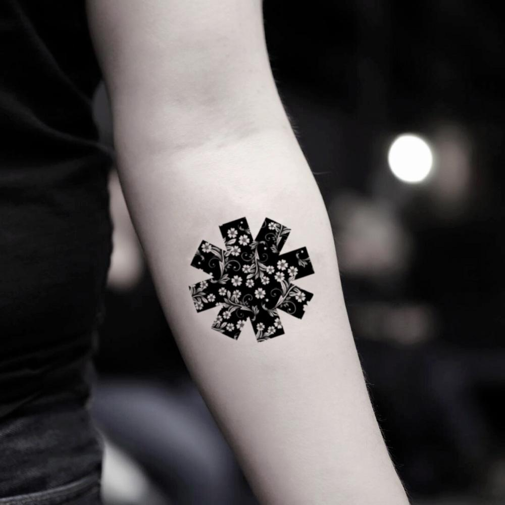 fake small red hot chili peppers geometric temporary tattoo sticker design idea on inner arm