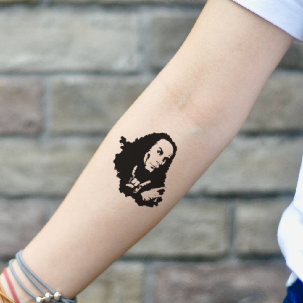 fake small ronnie james dio Portrait temporary tattoo sticker design idea on inner arm