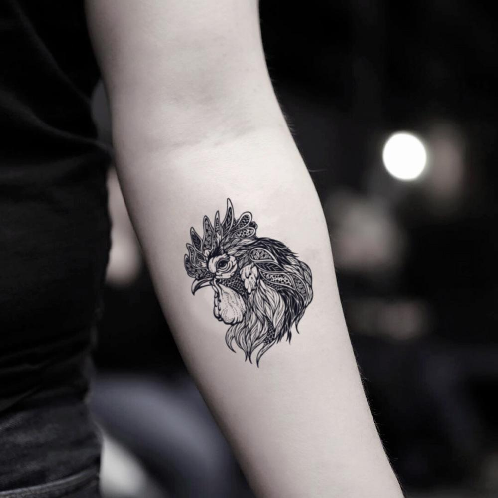 fake small fighting rooster animal temporary tattoo sticker design idea on inner arm
