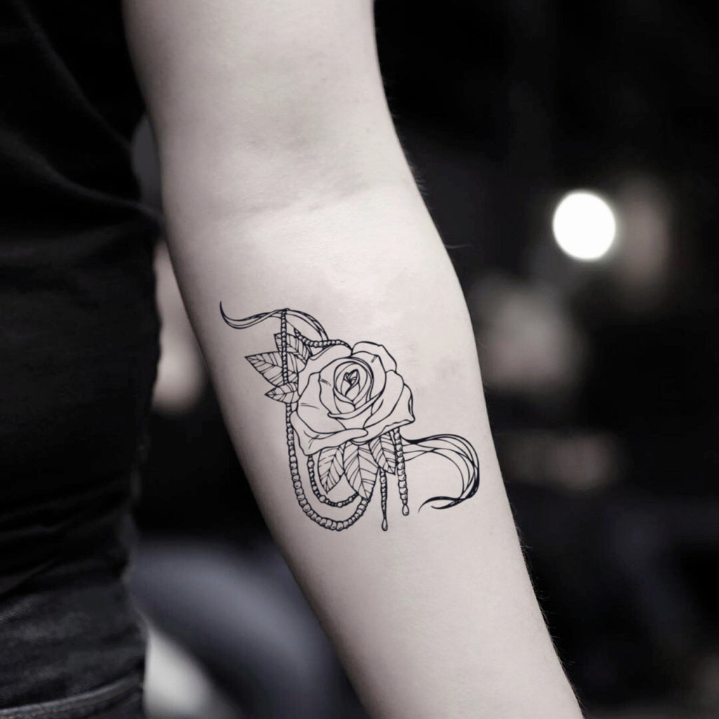 fake small rose and pearl flower temporary tattoo sticker design idea on inner arm