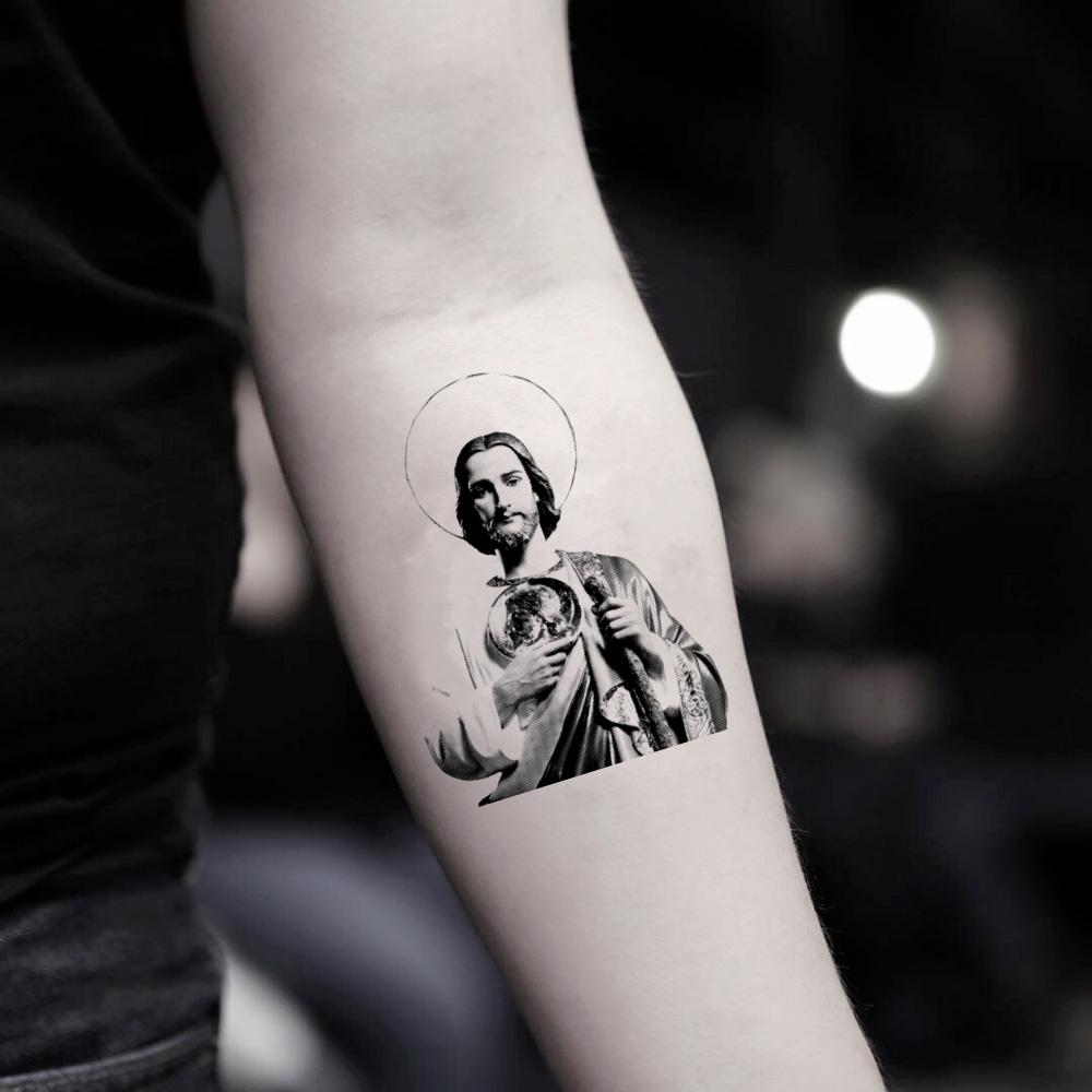 fake small san judas tadeo jesus saint jude st joseph statue illustrative temporary tattoo sticker design idea on inner arm