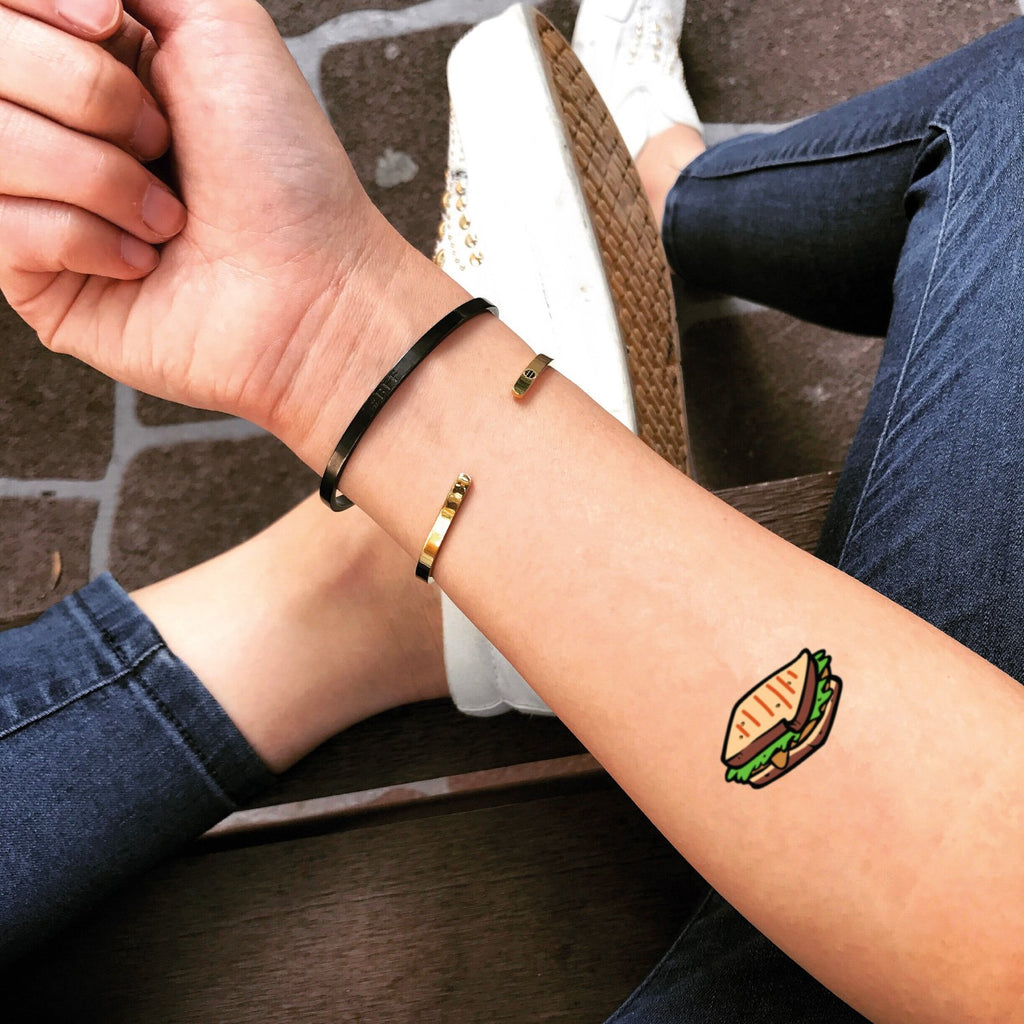 fake small sandwich fast food temporary tattoo sticker design idea on forearm