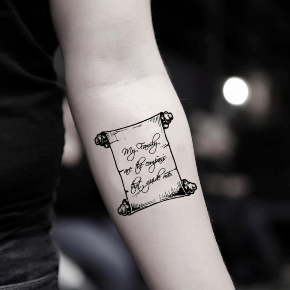 fake small scroll vintage temporary tattoo sticker design idea on inner arm
