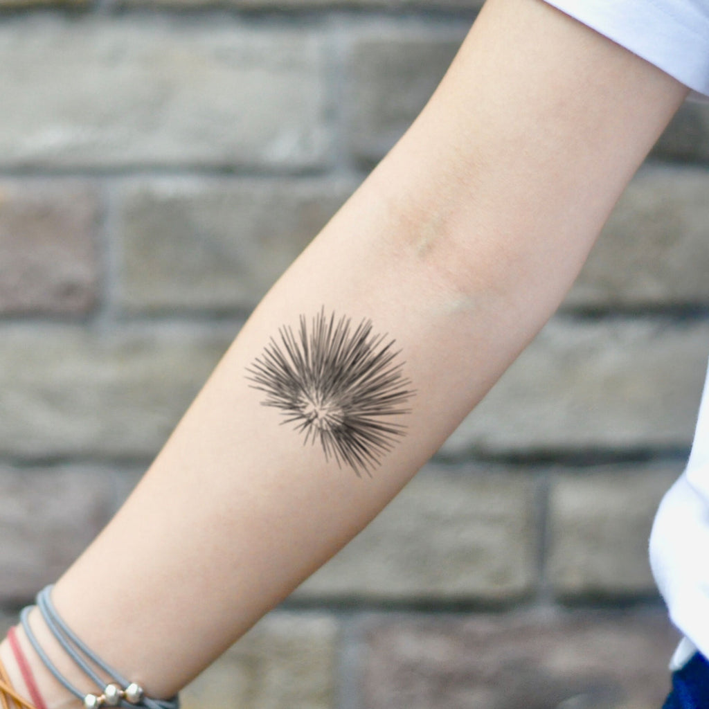 fake small sea urchin geometric temporary tattoo sticker design idea on inner arm