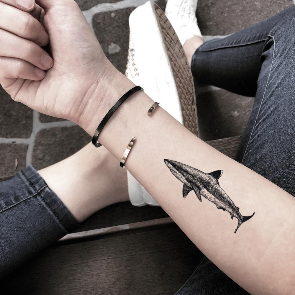 fake small great white mako shark animal temporary tattoo sticker design idea on forearm