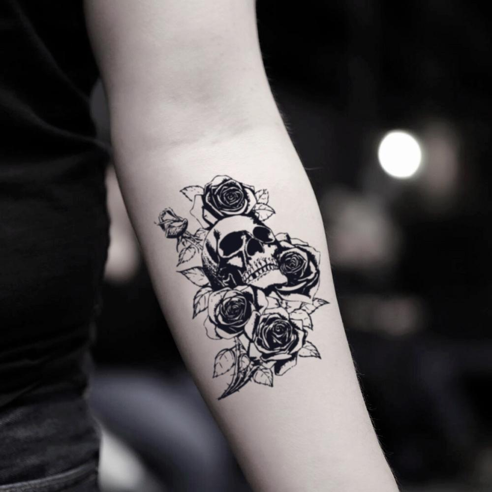 fake small skull and rose flower temporary tattoo sticker design idea on inner arm