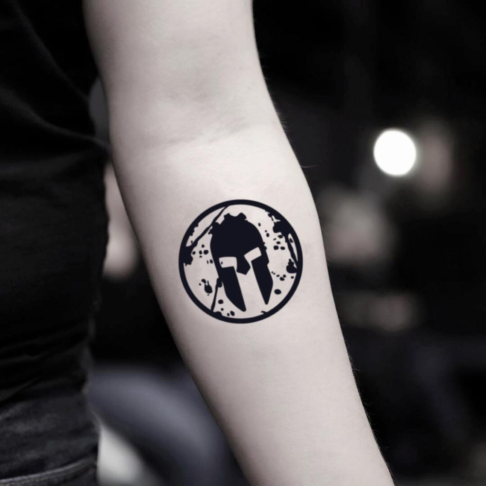 fake small spartan race illustrative temporary tattoo sticker design idea on inner arm