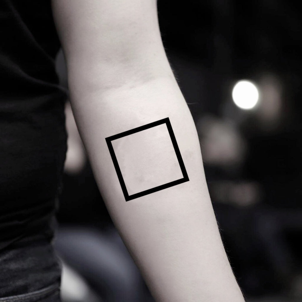 fake small black square geometric temporary tattoo sticker design idea on inner arm