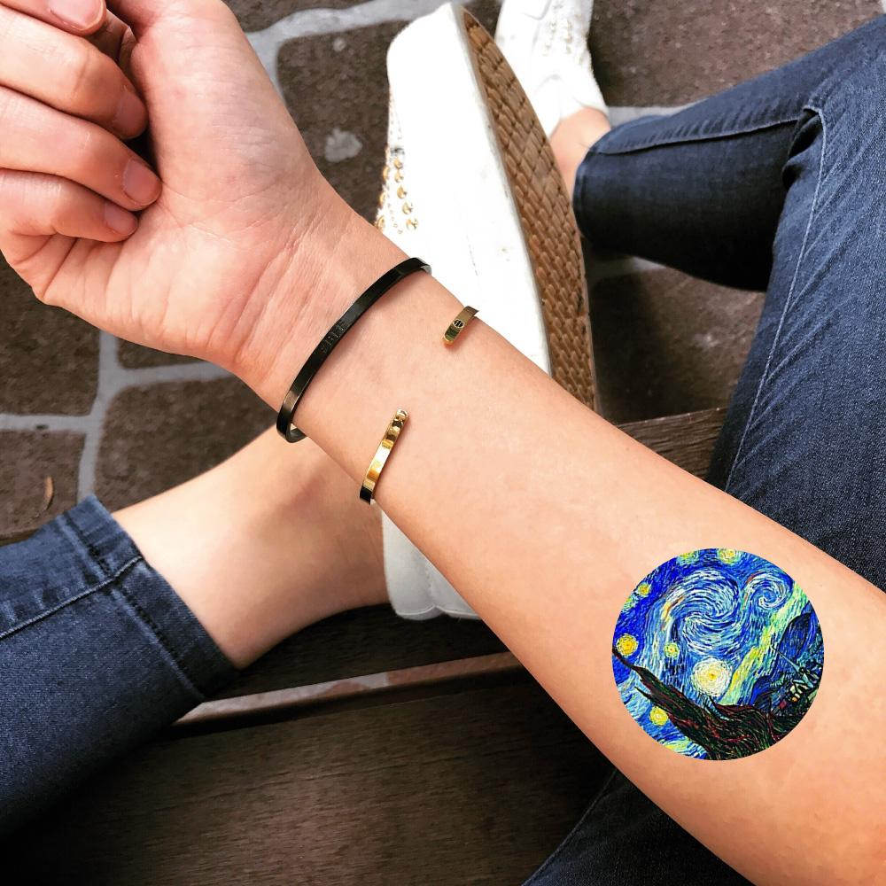 fake small vincent van gogh starry night sky canvas monet fine art history color temporary tattoo sticker design idea on forearm