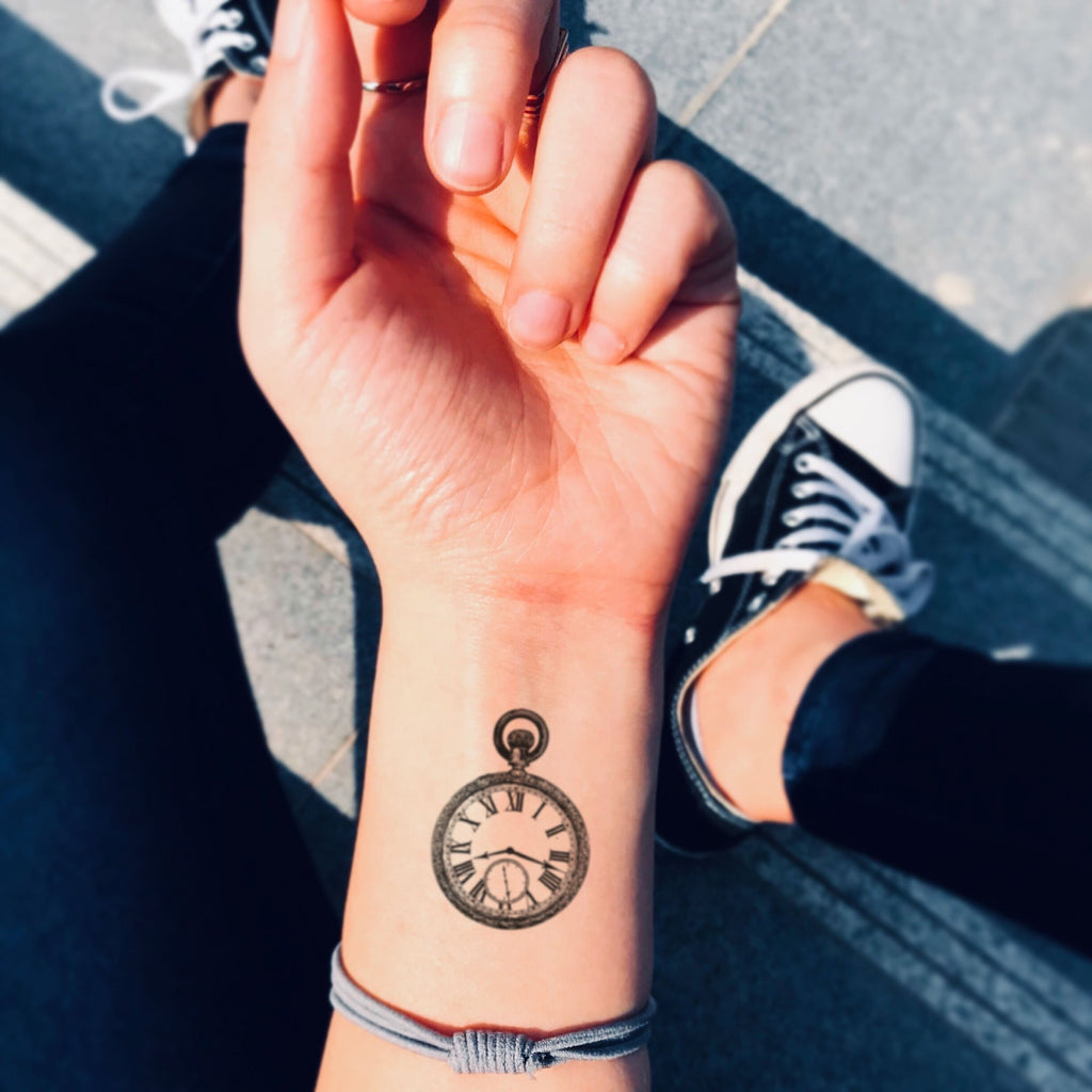 fake small stop watch girly stopwatch vintage temporary tattoo sticker design idea on wrist