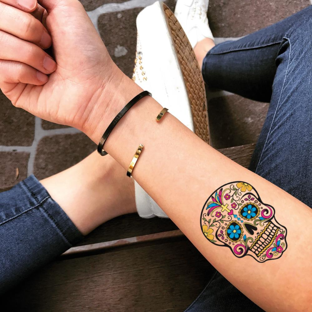 fake small sugar candy skull mexican flower new school skool color temporary tattoo sticker design idea on forearm