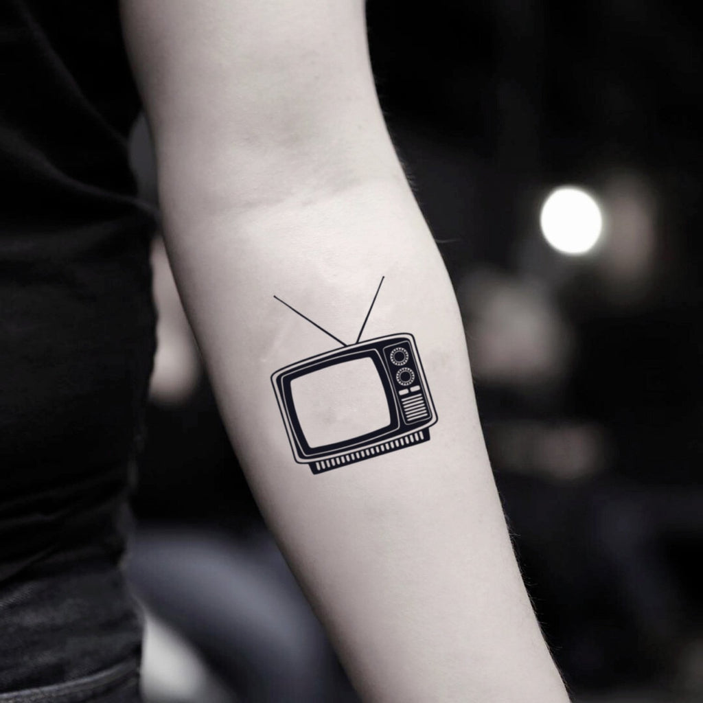 fake small tv vintage temporary tattoo sticker design idea on inner arm