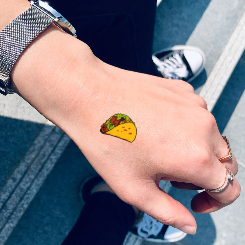 fake small taco simple cute tasteful food temporary tattoo sticker design idea on hand