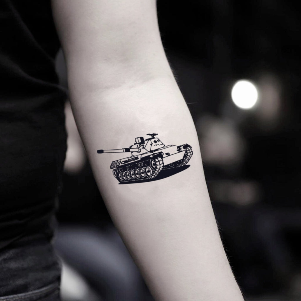 fake small tank illustrative temporary tattoo sticker design idea on inner arm