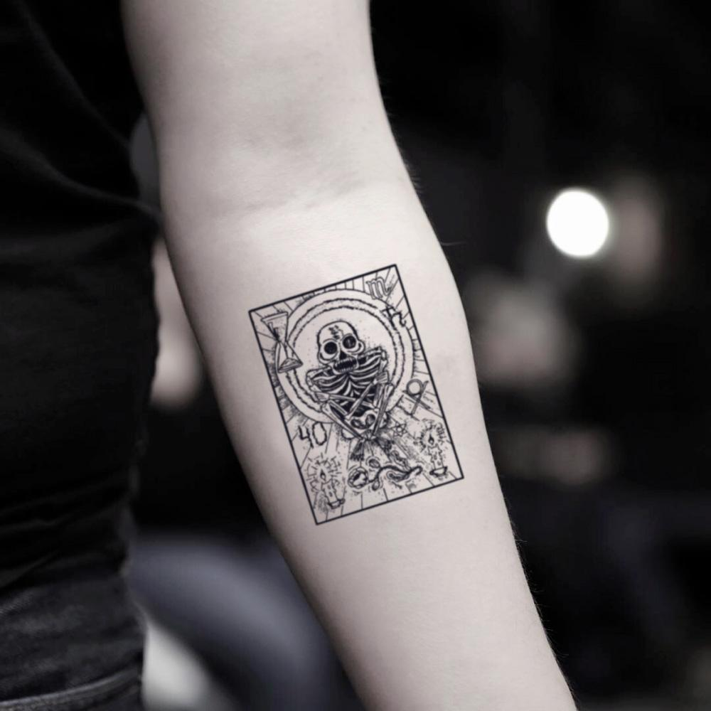 fake small death tarot loteria card illustrative temporary tattoo sticker design idea on inner arm