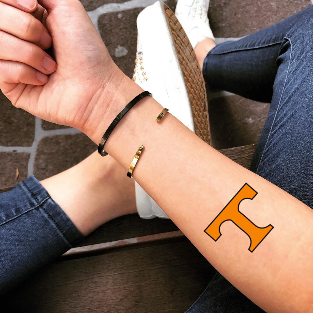 fake small tennessee vols texas rangers lettering color temporary tattoo sticker design idea on forearm