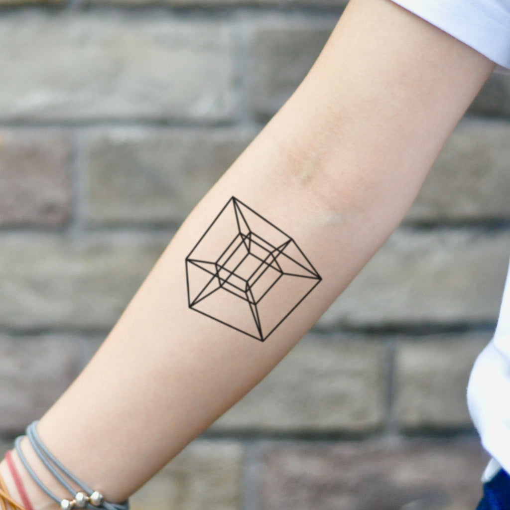 fake small tesseract cube geometric temporary tattoo sticker design idea on inner arm