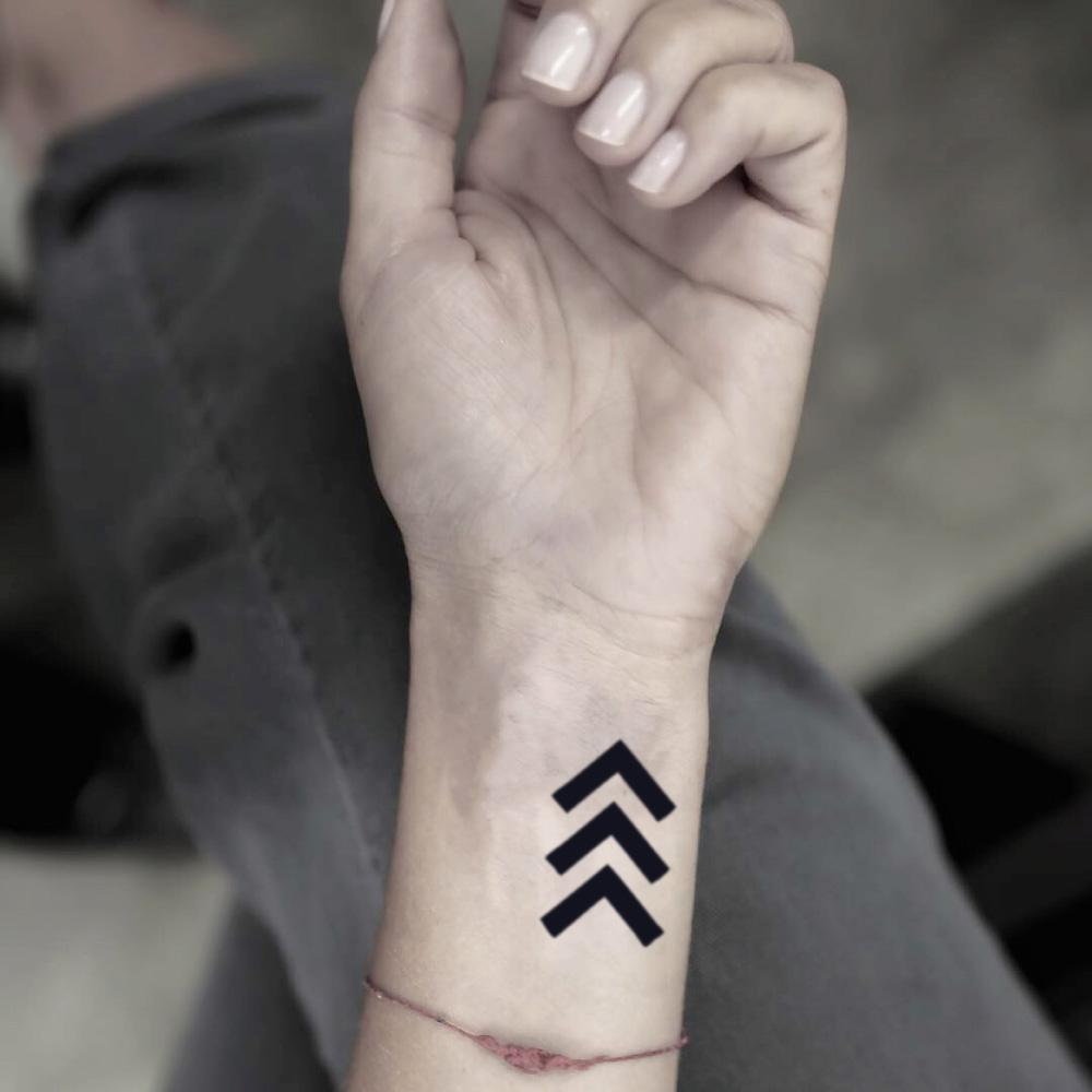 fake small the lucky few forward geometric temporary tattoo sticker design idea on wrist