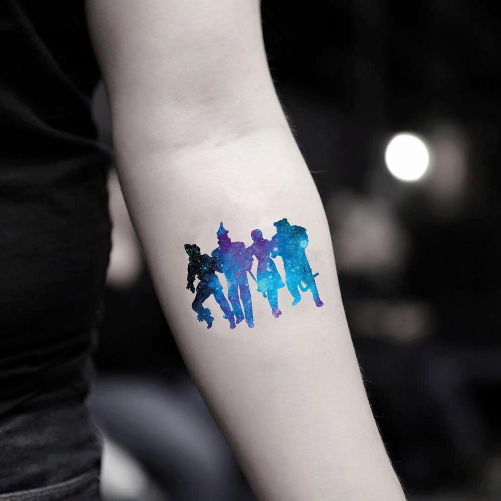 fake small the wizard of oz galaxy color temporary tattoo sticker design idea on inner arm