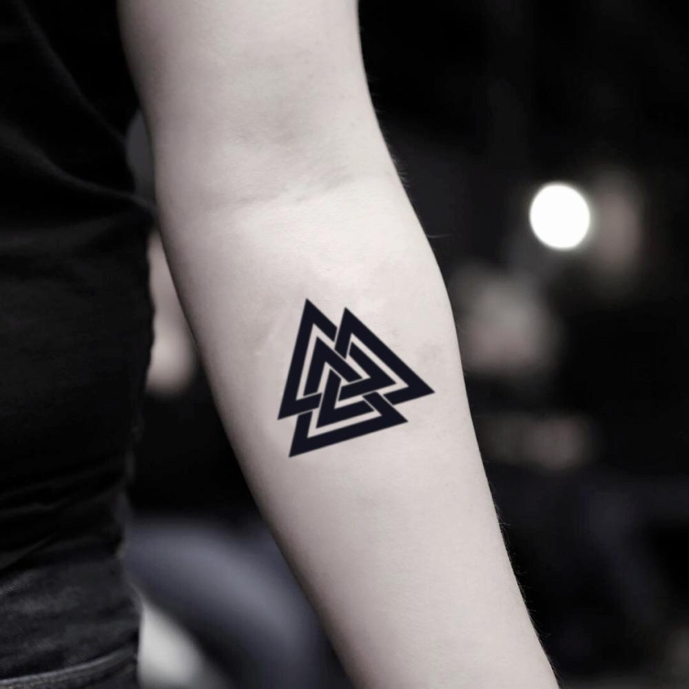 fake small three triangles geometric temporary tattoo sticker design idea on inner arm