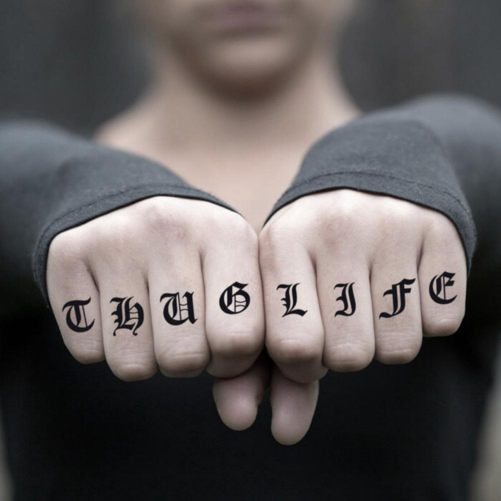 fake small thug life men gangster hand lettering temporary tattoo sticker design idea on finger